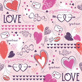 Fondo modellato senza cuciture rosa con, biglietto di S. Valentino rosso e blu royalty illustrazione gratis