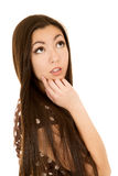 Fondo modelo femenino joven atractivo del blanco del retrato Foto de archivo