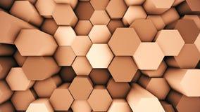 Fondo moderno abstracto de la superficie del maleficio Animación hexagonal loopable anaranjada 3D libre illustration