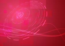 Fondo moderno astratto di ciao-tecnologia nel colore rosso Immagini Stock