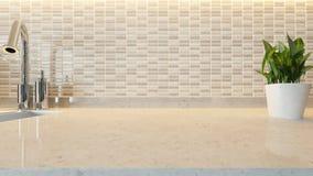 Fondo moderno de cerámica blanco del diseño de la cocina con el marb de la cocina Imagen de archivo libre de regalías