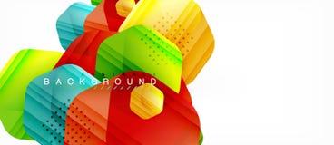 Fondo moderno de la composición de los hexágonos brillantes del color, diseño de cristal brillante stock de ilustración