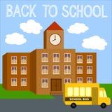 Fondo moderno de la escuela con el autobús amarillo Fotografía de archivo libre de regalías