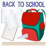 Fondo moderno de la escuela con la mochila Imágenes de archivo libres de regalías