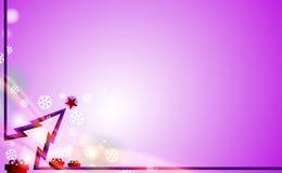 Fondo moderno de Violet Merry Christmas con el árbol púrpura y ornamentos de los copos de nieve del parpadeo Por Años Nuevos en l libre illustration