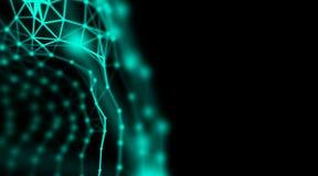 Fondo moderno del arte de la conexión de red de la tecnología del verde del diseño de la neurona del triángulo de la tecnología Fotografía de archivo libre de regalías