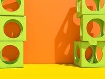 Fondo moderno di architettura di Abstact con i cubi sulla parete 3d illustrazione vettoriale