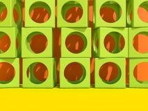 Fondo moderno di architettura di Abstact con i cubi sulla parete 3d illustrazione di stock