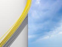 Fondo moderno di architettura, scale gialle Fotografia Stock Libera da Diritti