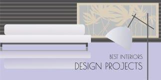 Fondo moderno di interior design con il sofà, la lampada di pavimento e la grande finestra illustrazione di stock