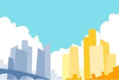 Fondo moderno di paesaggio urbano del grattacielo di vista della città Immagine Stock