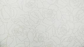 Fondo moderno di Rose Floral Pattern White Fabric Fotografia Stock