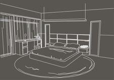Fondo moderno interior del gris del dormitorio del bosquejo arquitectónico Imagen de archivo