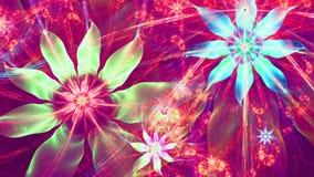 Fondo moderno vivo brillante hermoso de la flor en colores rosados, verdes, azules, rojos brillantes Foto de archivo libre de regalías