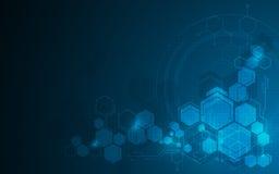 Fondo molecolare astratto di concetto di progetto di fi di sci di tecnologia del modello di esagono royalty illustrazione gratis