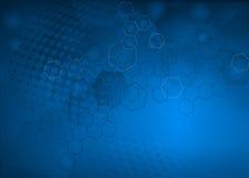 Fondo molecolare blu astratto di llustration Fotografia Stock