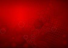 Fondo molecular rojo abstracto del diseño del ejemplo Stock de ilustración