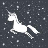 Fondo monocromatico con caricatura dell'unicorno che salta nel cielo stellato Immagine Stock