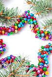 Fondo multicolor aislado de la estrella de la Navidad con el espacio de la copia Imagen de archivo