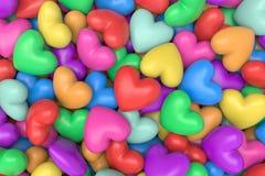 Fondo multicolor de los corazones Foto de archivo libre de regalías