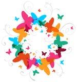 Fondo multicolor del diseño de la mariposa del resorte stock de ilustración