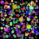 Fondo multicolor gráfico fresco del extracto del vector; círculos coloridos en fondo negro; puede ser utilizado para los papeles  ilustración del vector