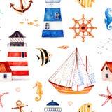 Fondo multicolore con le stelle marine, ancora, fari, pesci di corallo Immagini Stock Libere da Diritti