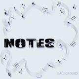 Fondo musical abstracto y la palabra NOTAS Imágenes de archivo libres de regalías