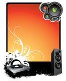 Fondo musical anaranjado stock de ilustración