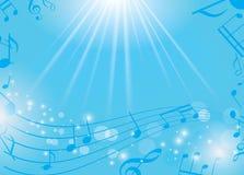Fondo musical azul con las notas y los rayos - EPS Imagen de archivo