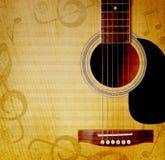 Fondo musical con la guitarra Imagen de archivo libre de regalías