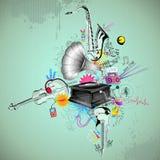 Fondo musical retro stock de ilustración