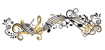 Fondo musicale con l'albero Immagine Stock