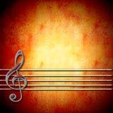 Fondo musicale con la chiave tripla ed il personale, in bianco Fotografia Stock Libera da Diritti
