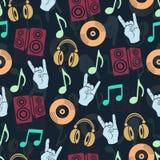 Fondo musicale di vettore, modello senza cuciture degli accessori di musica Fotografia Stock