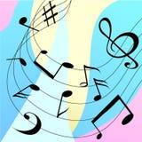 Fondo musicale variopinto con le note nere illustrazione vettoriale