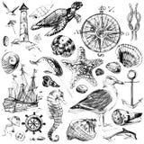Fondo náutico del bosquejo para el diseño Imagen de archivo libre de regalías