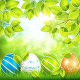 Fondo natural con los huevos de Pascua stock de ilustración