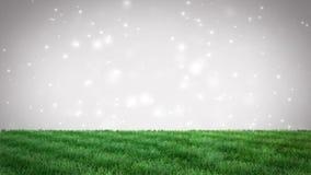 Fondo natural de la hierba verde con las partículas del bokeh Lazo inconsútil