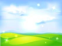 Fondo natural horizontal del vector con el cielo azul Imagen de archivo libre de regalías