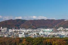 Fondo naturale della montagna della copertura della residenza della città del Giappone del cambiamento del centro di stagione Immagini Stock Libere da Diritti