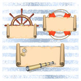 Fondo nautico con testo illustrazione vettoriale