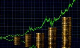 Fondo negro abstracto de las finanzas Carta abstracta en el fondo de números y del gráfico financieros Ciudad financiera Nueva Yo Fotografía de archivo libre de regalías