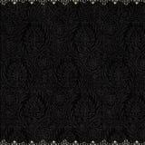 Fondo negro antiguo del damasco de la vendimia Foto de archivo libre de regalías