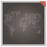 Fondo negro blanco del papel del vector del mundo del mapa Imagen de archivo libre de regalías