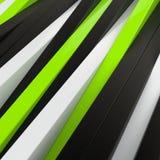 Fondo negro, blanco y verde abstracto de los paneles 3D Imagen de archivo libre de regalías