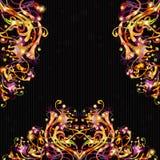 Fondo negro brillante del color de la fantasía con la planta ficticia Fotos de archivo