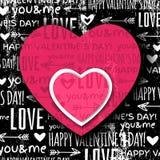 Fondo negro con el corazón de la tarjeta del día de San Valentín y WIS rojos Fotos de archivo