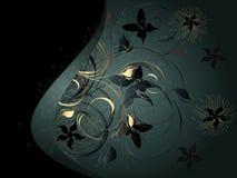 Fondo negro con el ornamento floral Foto de archivo libre de regalías
