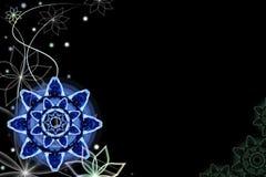 Fondo negro con las flores de la fantasía ilustración del vector